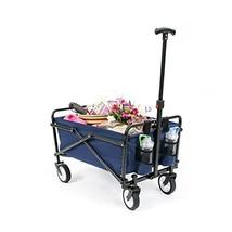 YSC Wagon Garden Folding Utility Shopping Cart,Beach Red Navy Blue - $73.26