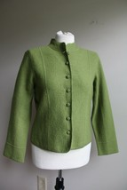 Talbots S P Petite Green Button Front Boiled Wool Blazer Jacket Stand Up... - $30.40