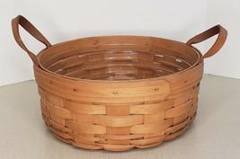 "Vintage 1996 Longaberger 10"" Round Signed Basket With Leather Handles - $24.75"