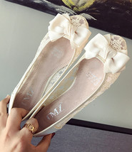 Ivory Lace Wedding Shoes/ Beige Lace Flat Shoes/ Champagne Lace Flats Shoes - $38.00