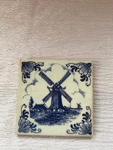 Vintage Small Blue & White Delft Square Pottery Tile with Dutch Windmill... - $8.59