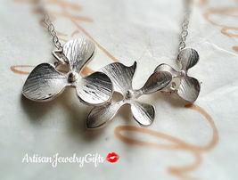 Silver Orchid Trio Necklace Matte Silver Orchid Necklace Bridesmaid Neck... - $34.00+