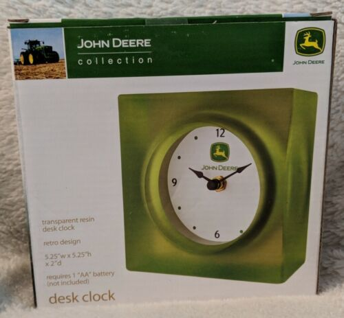 John Deere Collection LP25131 Transparent Resin Desk Clock Retro Design