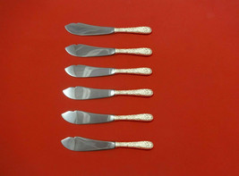 """Repousse by Kirk Sterling Silver Trout Knife Set 6pc 7 1/2"""" Custom Made  - $429.00"""