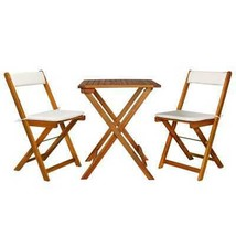 Small Bistro Set 3pc Table Chairs w Cushion Folding Wood Outdoor Patio F... - $185.32