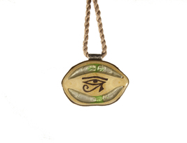 Resin and Wood, Handmade Necklace with Burned Eye of Horus  - $60.00
