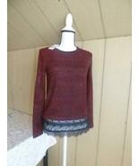 $59.00 Jessica Simpson  Junior's Luna Lace-trimmed Sweater, Red Velvet, XS - $19.45