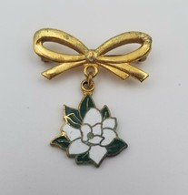 """Vintage Gold Tone Brooch Pin with Bow and Enamel Flower 1"""" x 1"""" - $9.89"""