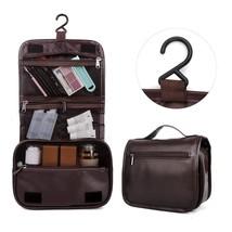 Men Toiletry Bag Leather Travel Organizer Man Shaving Accessory Zipper D... - £10.02 GBP