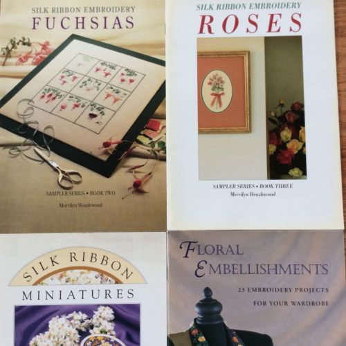 Merrilyn Heazlewood Lot Of 4 Books Ribbon Embroidery Fuchsia Roses Mini Ward