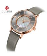 Julius Watch Women Thin Slim 9mm Leather Quartz Wristwatch Shell Waterproof - $35.99