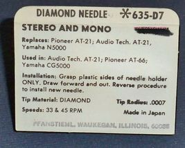 Pfanstiehl 635-D7 RECORD PLAYER NEEDLE STYLUS for Pioneer AT-66 Technica AT-21 image 3