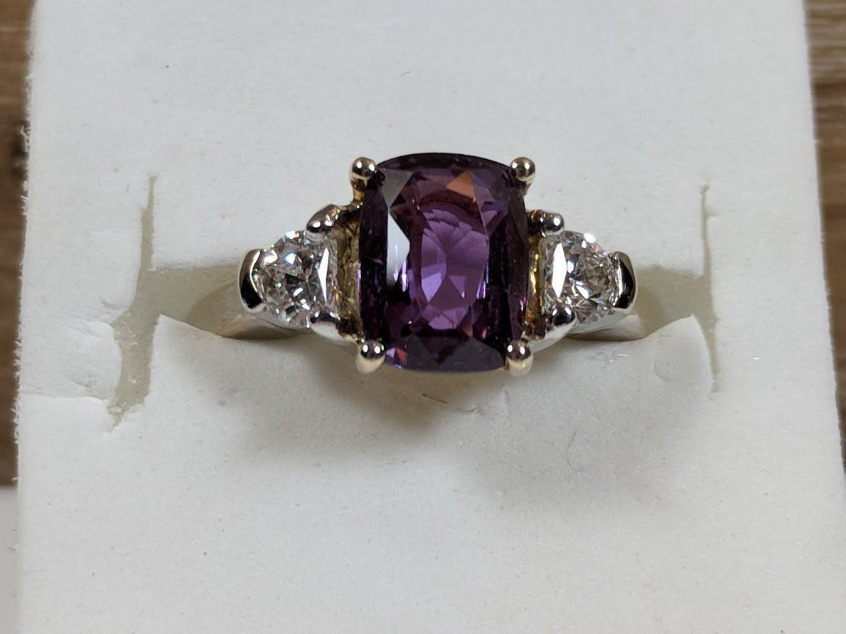 Purple sapphire and diamond 14k gold 6