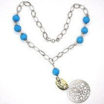 925 Silver Necklace, MEDALLION SATIN, TURQUOISE FACETED, Pendant image 2