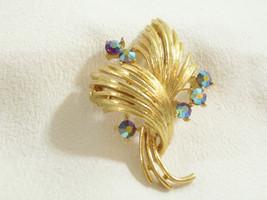 LISNER BLUE Aurora Borealis Rhinestones Brooch Pin Gold Plated Vintage AB RS - $24.74