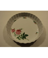 Christineholm Pie Plate Platter White/Green/Pink Roses Country Ceramic - $19.55