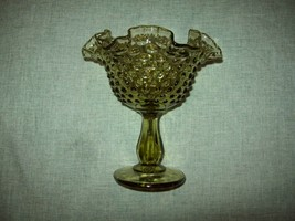 Fenton Green Hobnail Glass Footed Compote 6 Inches Tall Ruffle Edge Vintage EC - $10.00