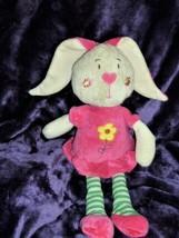 "SUGAR LOAF bunny plush stuffed doll Pink dress yellow daisy heart nose 16"" 2009 - $148.49"