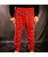 New Men'S Imperious Red/Black Aztec Print Drop Crotch 100% Cotton Jogger... - $43.21