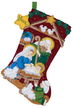 Finished Bucilla Christmas Stocking Nativity From Kit #86449 - 18in - Jesus Is T - $154.99