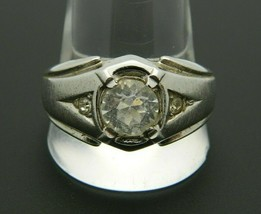 UNCAS Signed Silver Tone CZ Rhinestone Solitaire Band Ring Size 12.5 Unisex - $29.69