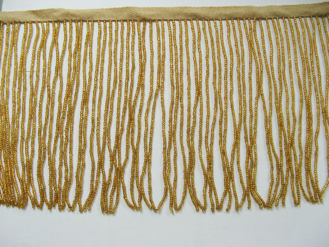 "Primary image for 38"" W SUPPER 10"" HIGH CRAFT ACCESSORIES TRIM GLASS SEED GOLDEN BEADED FRINGE 10G"