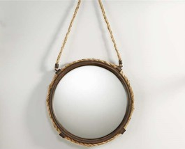 "15""  Nautical Mirror with Antiqued Metal & Hemp Rope Frame w Hemp Rope Hanger"