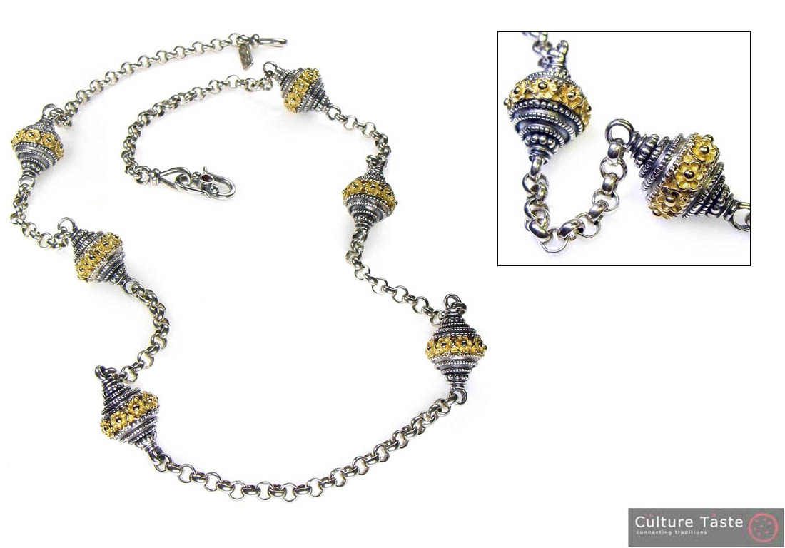 Gerochristo 3166 -Solid Gold & Silver Byzantine-Medieval Long Station Necklace