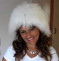 White fur hat, Babyalpaca pelt, standart size  - $68.00