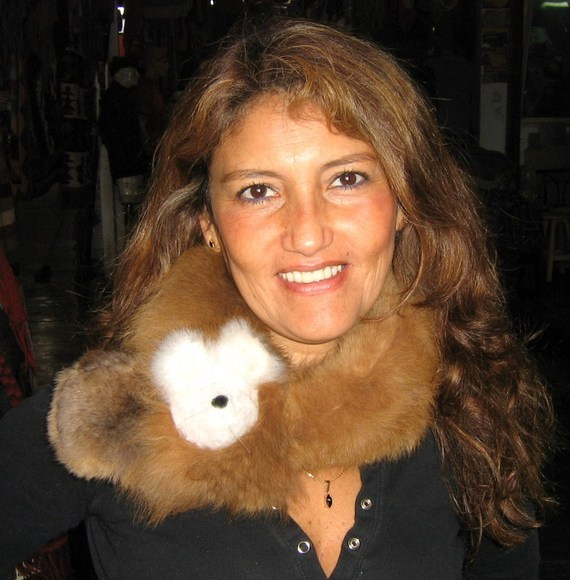 Primary image for Brown alpaca pelt stola, soft fur shawl