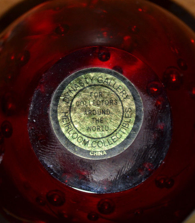 Dynasty Gallery Paperweight Apple Ruby Red With Controlled Bubbles Brass Stem