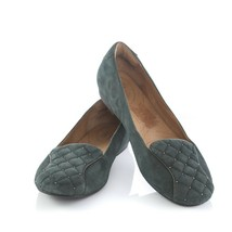 Clarks Indigo Green Suede Quilted Ballet Flats Comfort Shoes Womens 9.5 M - $34.46