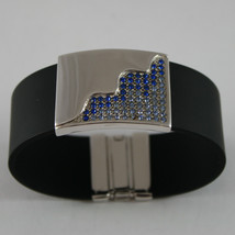 .925 RHODIUM SILVER BRACELET WITH RUBBER AND PLATE WITH BLUE CRISTALS image 2