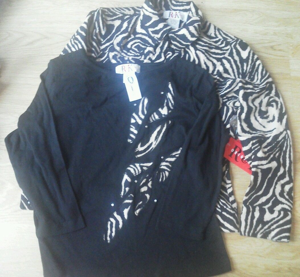 Primary image for Ladies R & K Petite M LS Shirt Jacket 2 pc Zebra Print Supersoft size PM Blk NEW