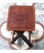 Side table, massive Mahogany wood, carved leather  - $149.00
