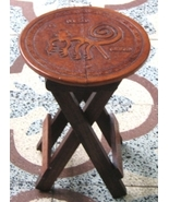 Occasional Bench, massive Mahogany wood Cow leather - $116.00