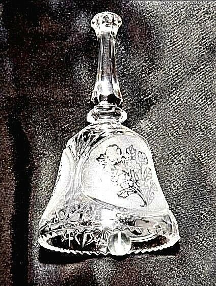 Cut Glass Bell with Detailed Floral Design AA18-11890  Heavy Vintage