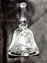 Cut Glass Bell with Detailed Floral Design AA18-11890  Heavy Vintage image 1