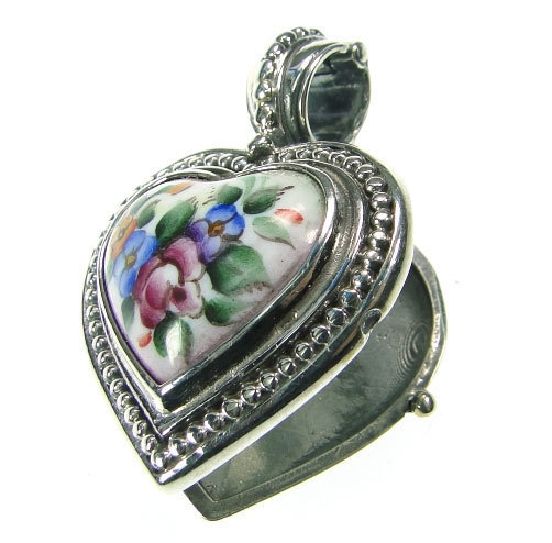 02003433 gerochristo 3433 silver porcelain painted heart locket pendant 2