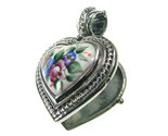 02003433 gerochristo 3433 silver porcelain painted heart locket pendant 2 thumb155 crop