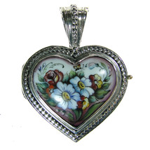 Gerochristo 3423 -  Sterling Silver & Painted Porcelain Heart Locket Pen... - $510.00