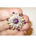 Deep & Light purple rhinestones sunburst pin brooch vintage - $15.00