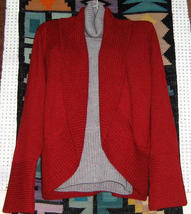 Red Cardigan with a grey sweater, pure Alpacawool  - $165.00