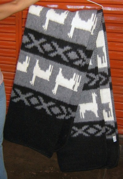 Gray blanket, coverlet made of alpacawool, Twin Size