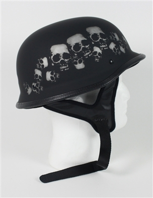 Primary image for Matte Black Skull German Motorcycle Helmet DOT