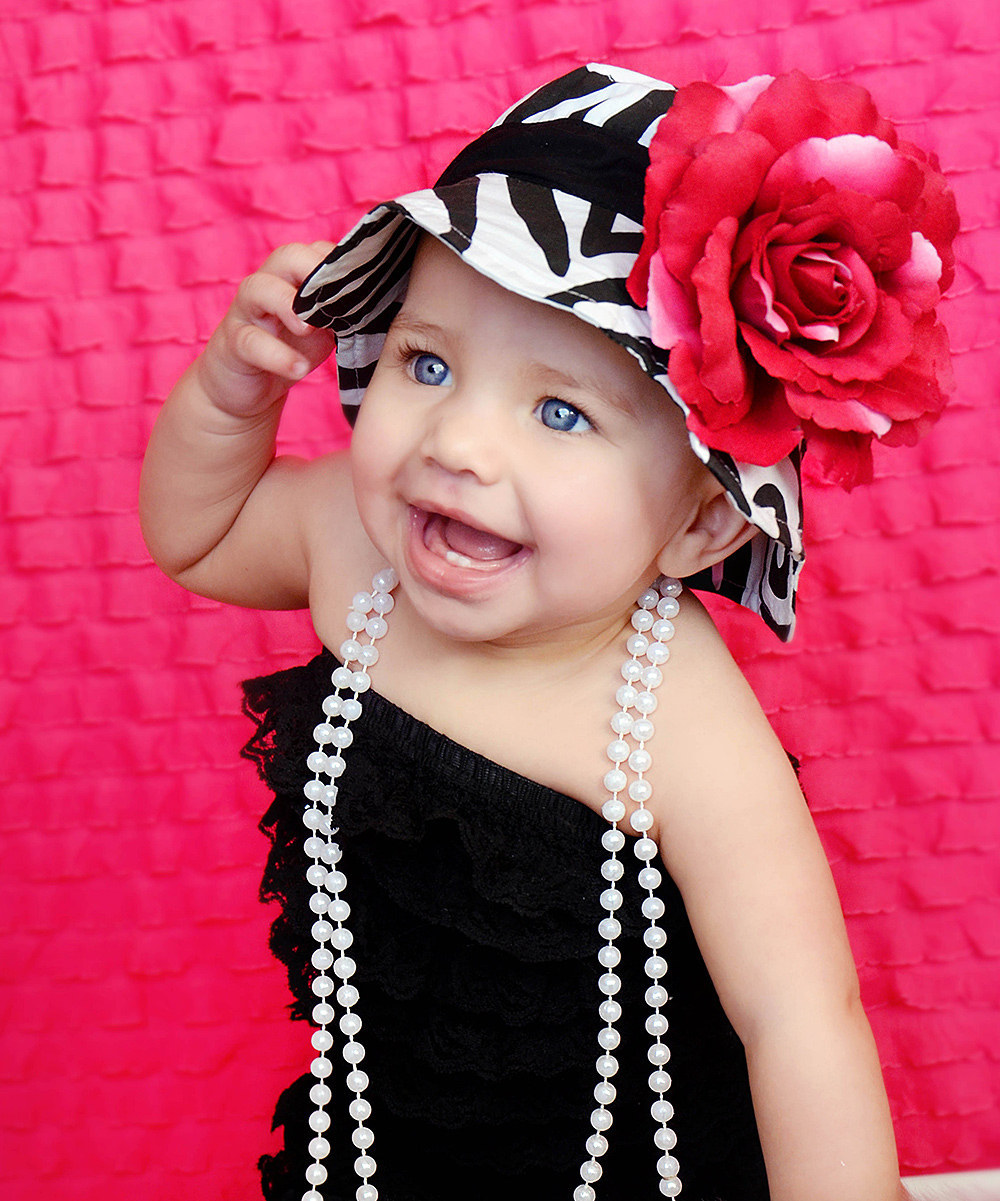 Primary image for Baby Hat Girls Black Pink Zebra Print Flower Strap Sunhat MSRP $32 SAVE $10