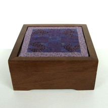 Vintage Wood Wooden Jewelry Keepsake Quilt Hinged Box Hardwood Old Treas... - $29.62