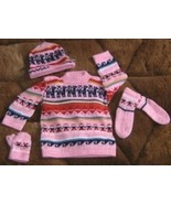 Pink complet baby set, made of Alpacawool - $34.00