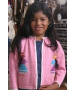 Pink embroidered ethnic knitted Cardigan,Alpacawool - $38.00