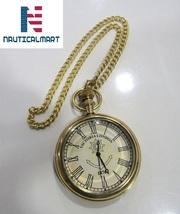 Pocket Watch Nautical Shiny Brass Maritime with Key Chain Hand Made Desi... - £34.72 GBP